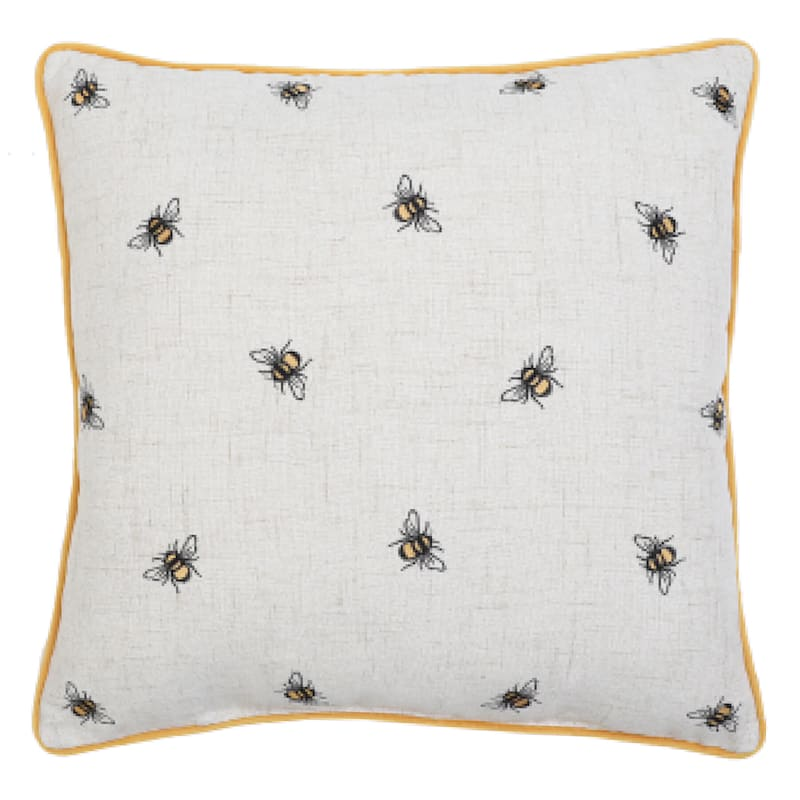 Grace Mitchell Betsey White Bee Embroidered Pillow, 18""