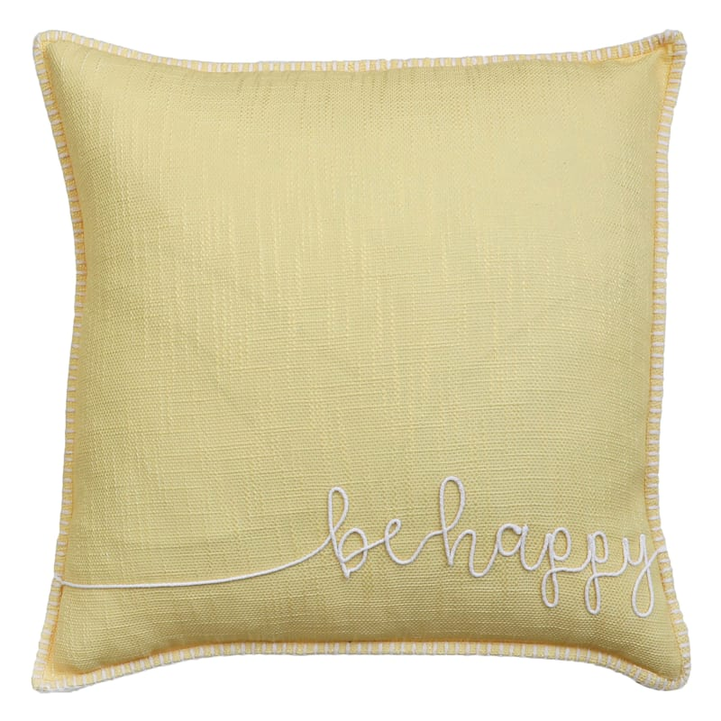 """Grace Mitchell Yellow Be Happy Rope Applique Pillow, 22"""""""