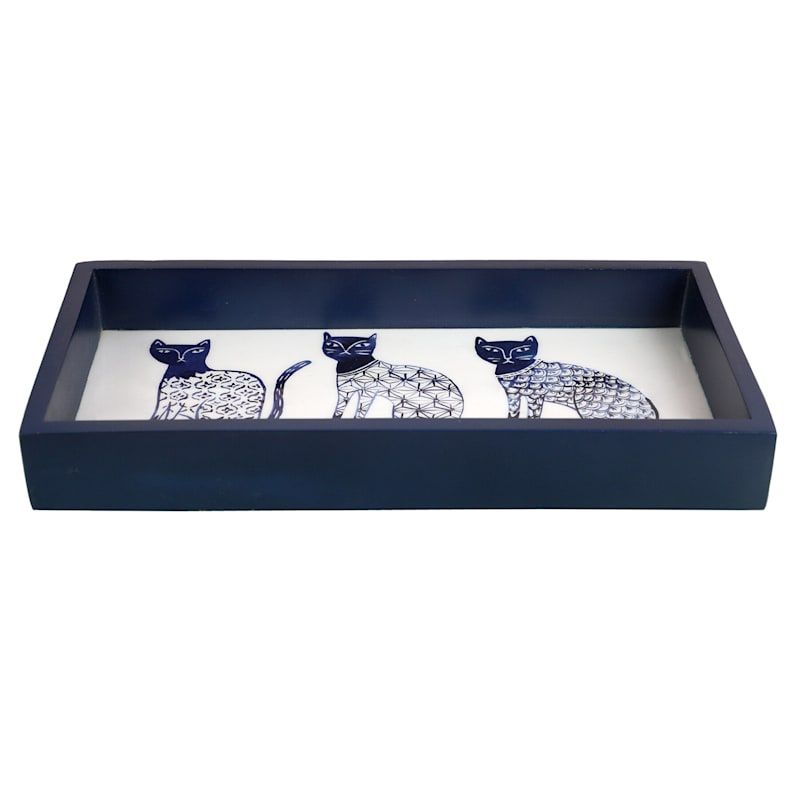 Tracey Boyd 12X6 Blue/White Cat Decal Tray