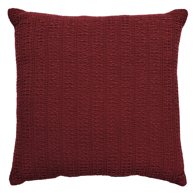 Haniya Red Cotton Woven Sand Washed Geo Pillow 18X18