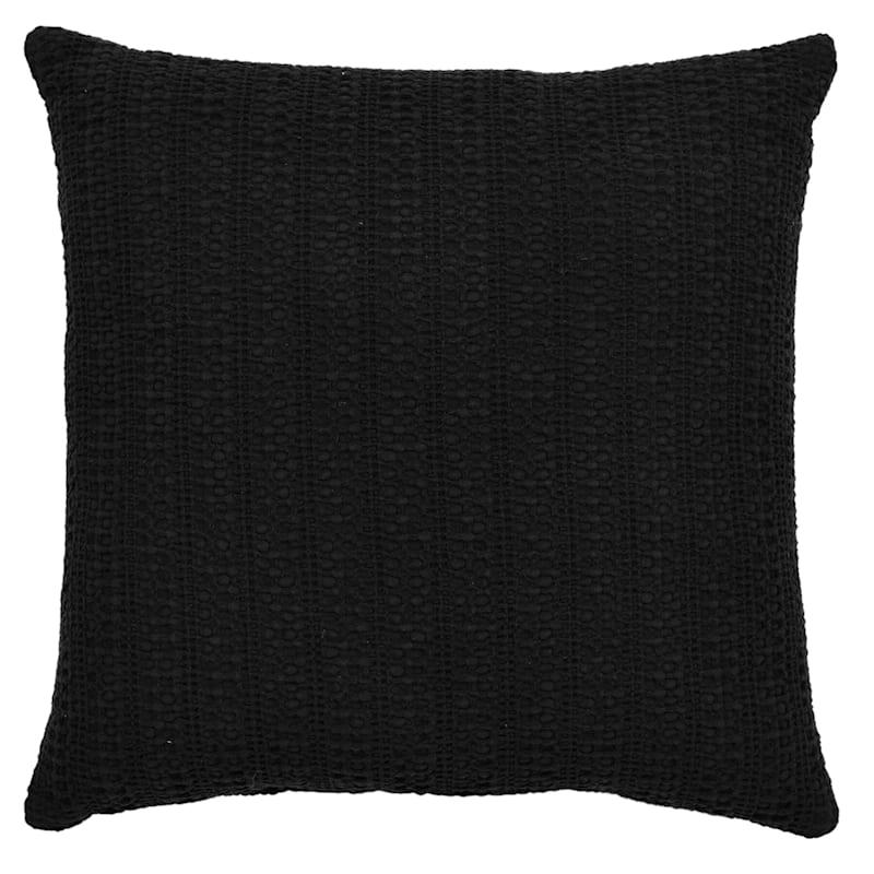 Haniya Black Cotton Woven Sand Washed Geo Pillow 18X18