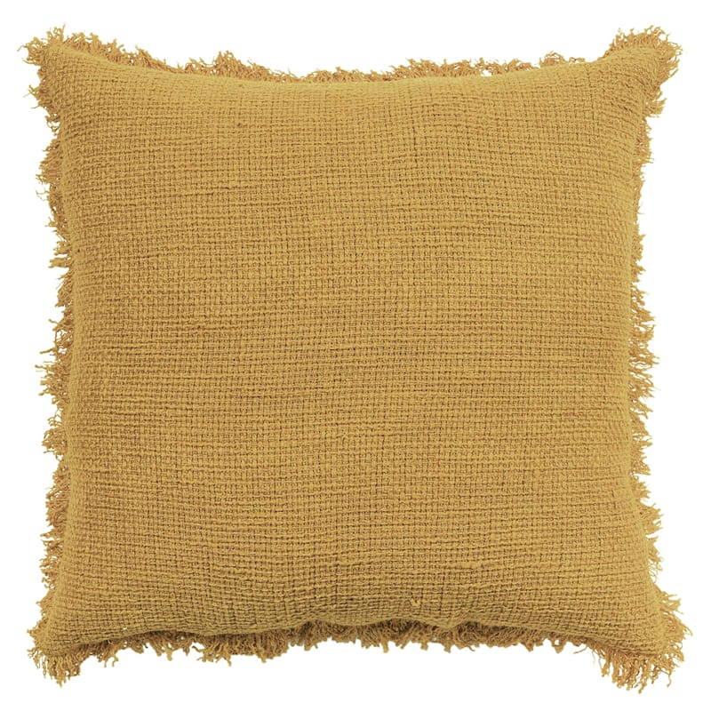 Yellow Cotton Sand Washed Waffle Texture Pillow With Fringe 18X18