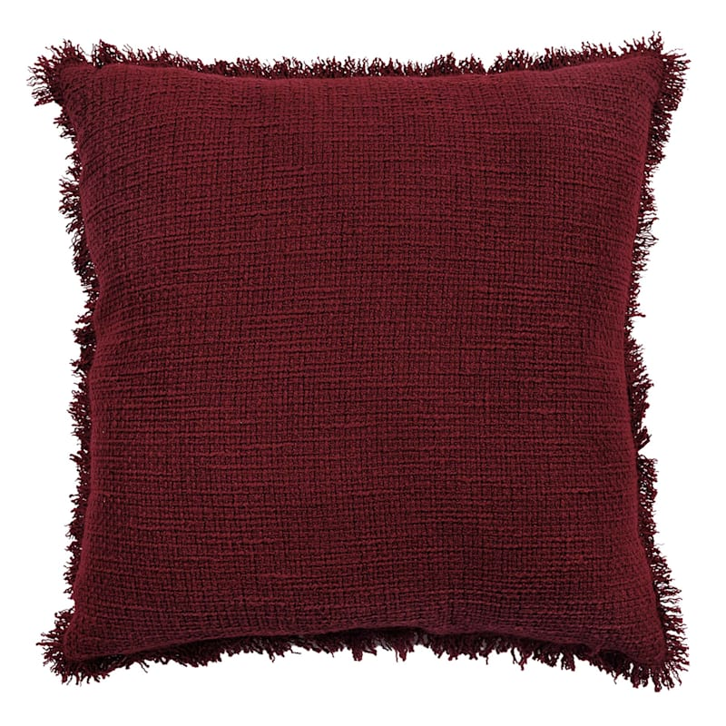 Red Cotton Sand Washed Waffle Texture Pillow With Fringe 18X18