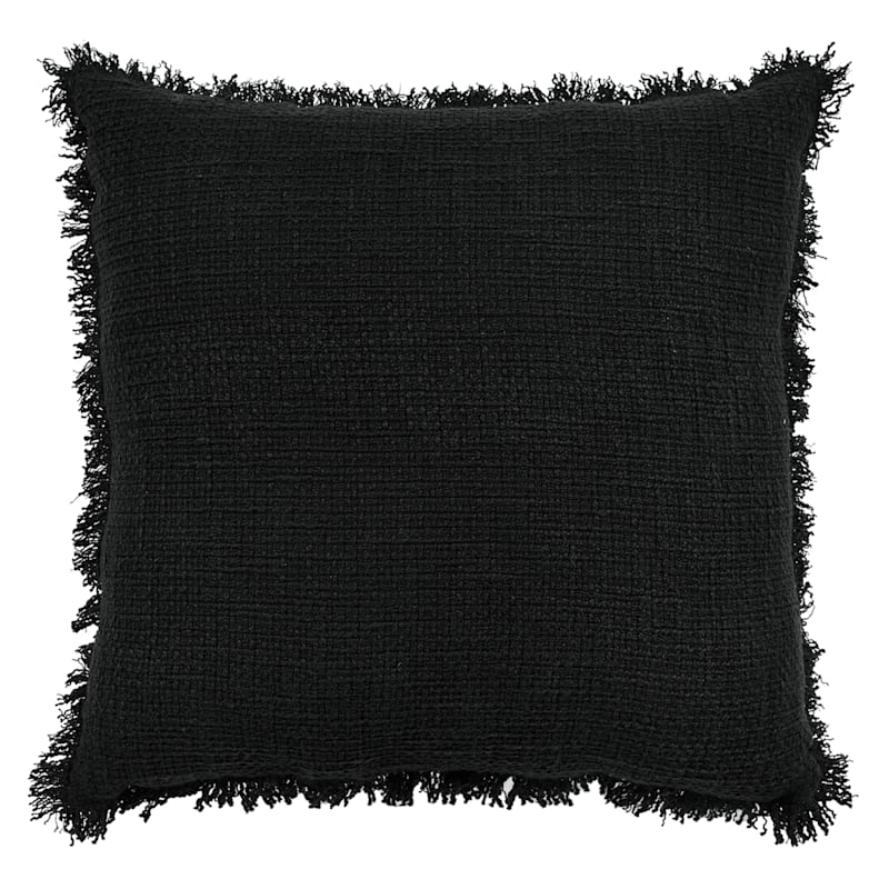 Black Cotton Sand Washed Waffle Texture Pillow With Fringe 18X18