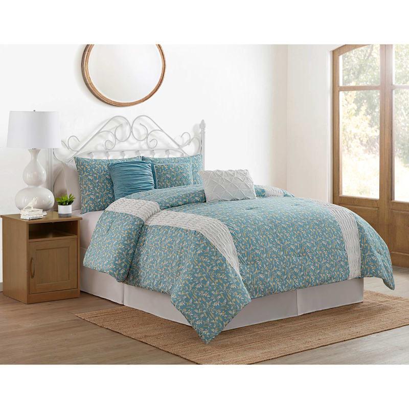 Aqua 7 Piece Farmhouse Leaves Comforter Set Full Queen At Home