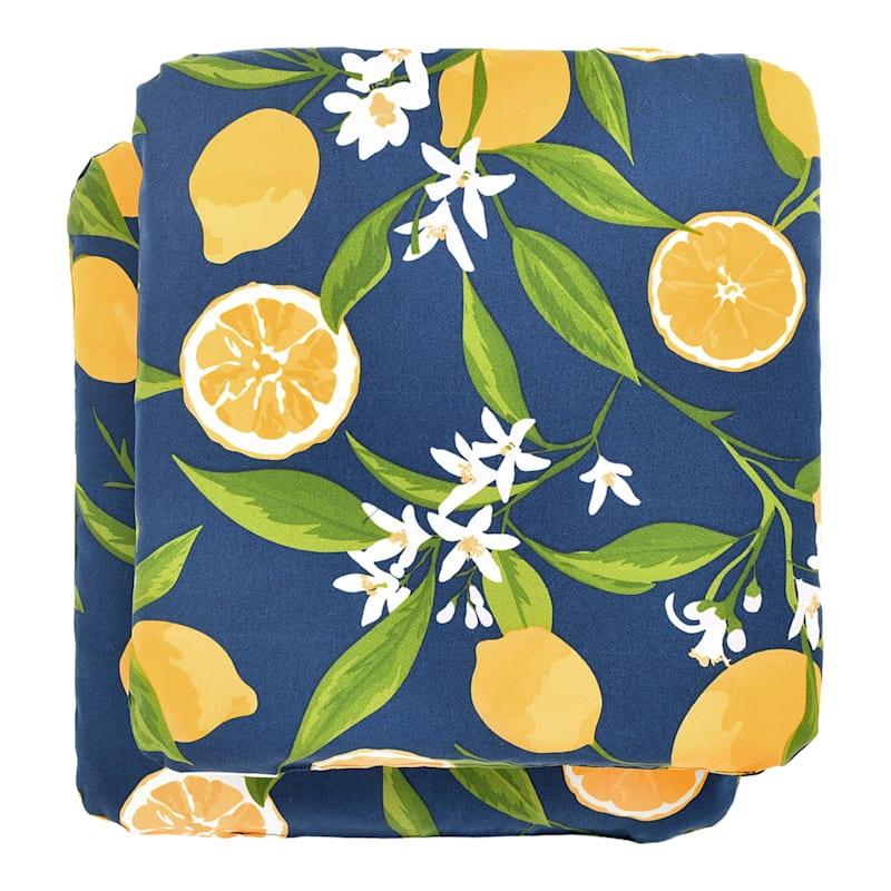 Lemon Tree Pattern Outdoor Chair Pad 2-Pack