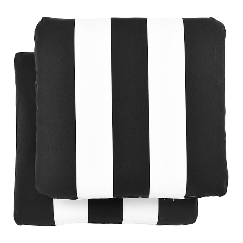 Black/White Stripe Outdoor Chair Pad 2-Pack