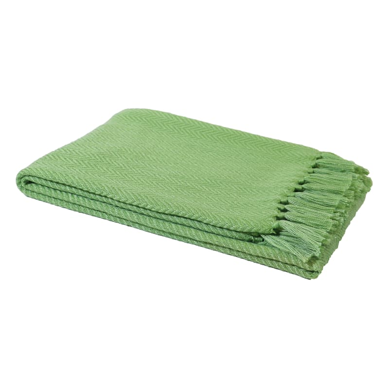 Green Outdoor Throw - Chevron With Fringe