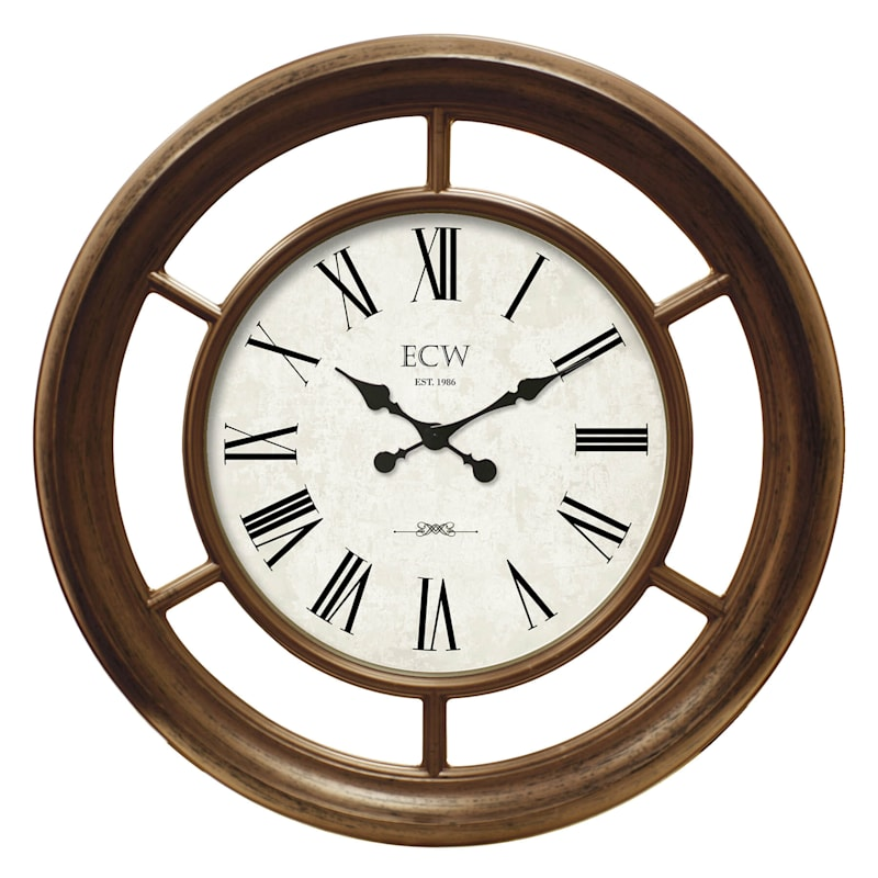 22in. Distressed Gold Round Wall Clock With Framed Mirror Insets