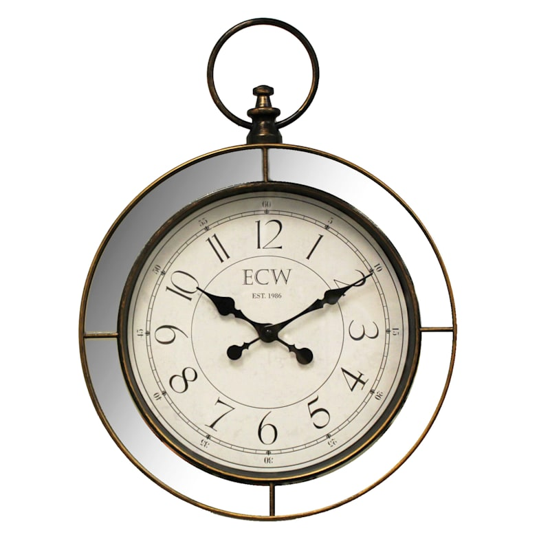 18in. Distressed Gold Pocket Watch Wall Clock With Mirror Frame
