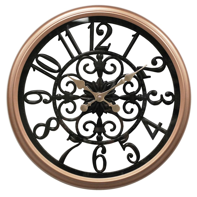 18in. Gold Round Wall Clock With Medallion Dial