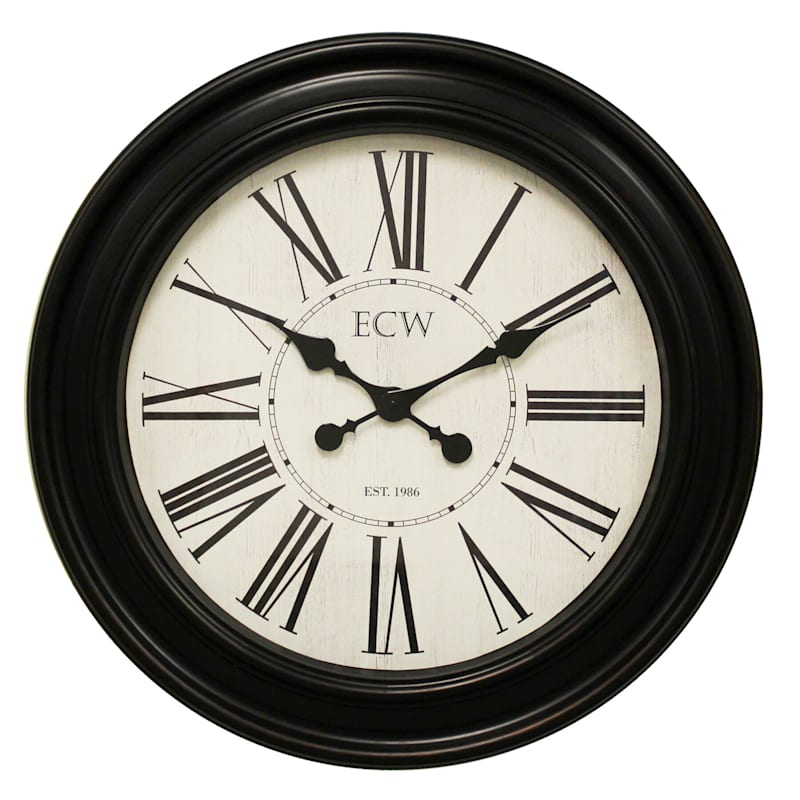 30in. Distressed Bronze Round Wall Clock