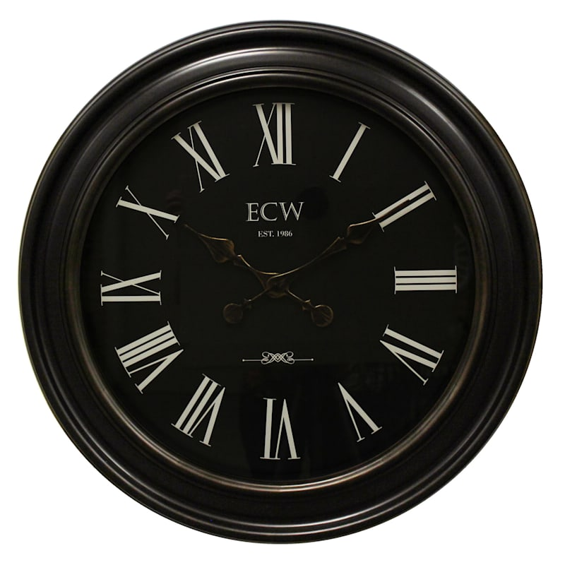 30in. Distressed Bronze Round Wall Clock With Black Dial