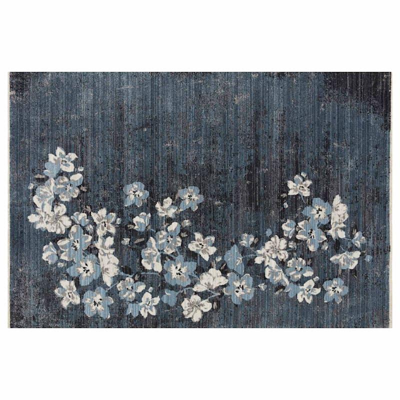 Tracey Boyd (B658) Cypress Distress Look Blue Floral Area Rug, 8x10
