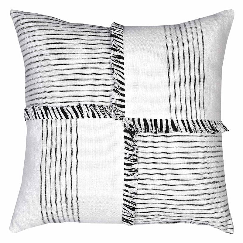 Samara White Stripe Woven Pillow 18X18