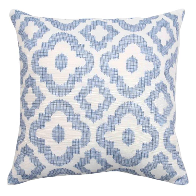 """Grace Mitchell Blue Quatrefoil Printed Pillow, 18"""""""