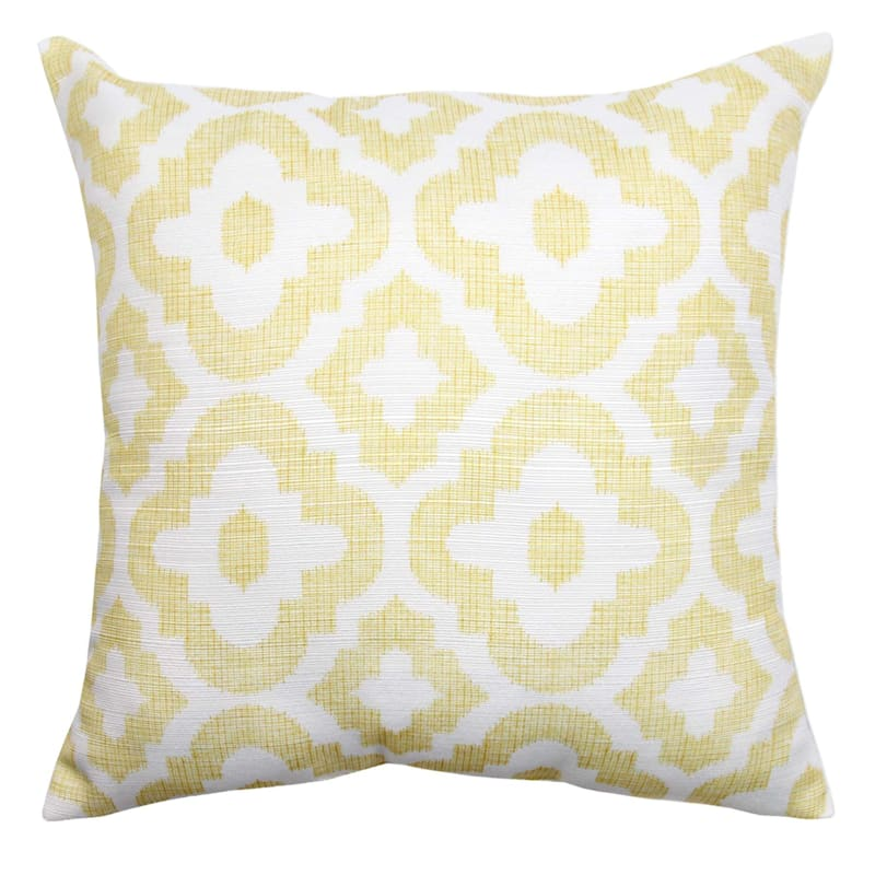 Grace Mitchell Yellow Quatrefoil Printed Pillow, 18""