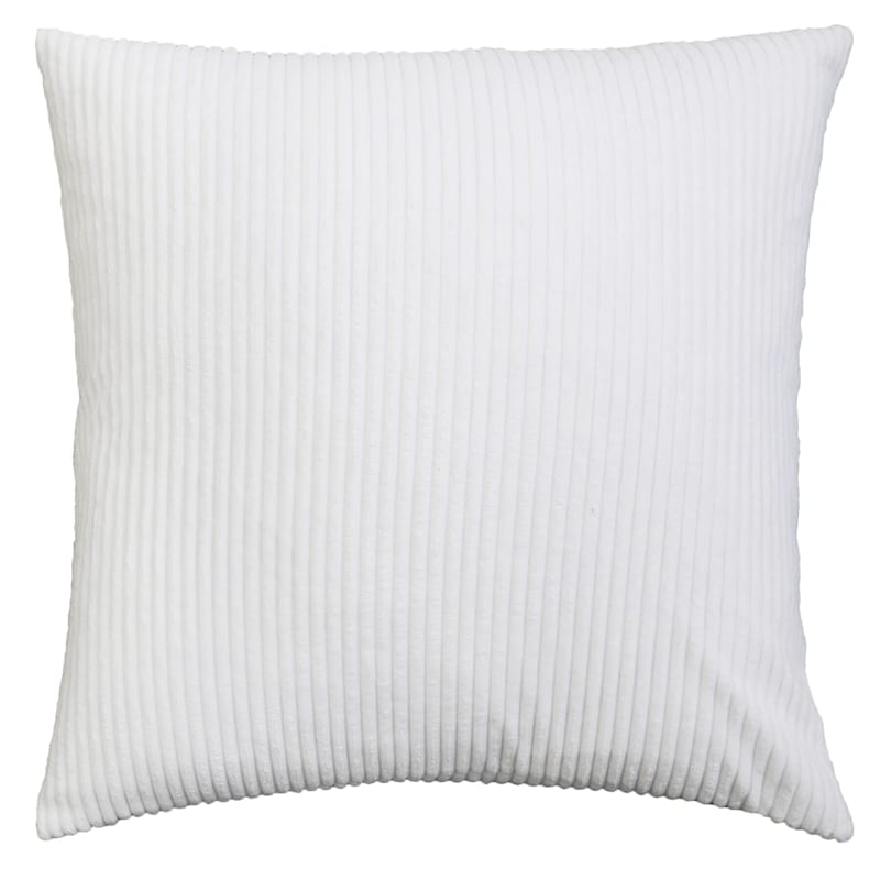 Corbin White Corduroy Velvet Pillow 22in.