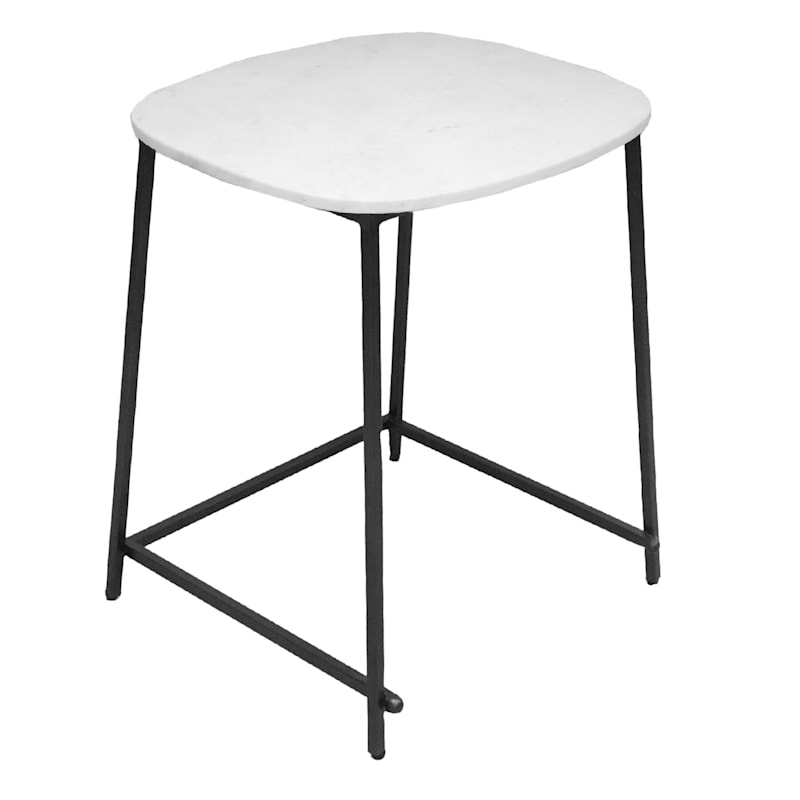 Marble Top Accent Table With Black Metal Legs, Small