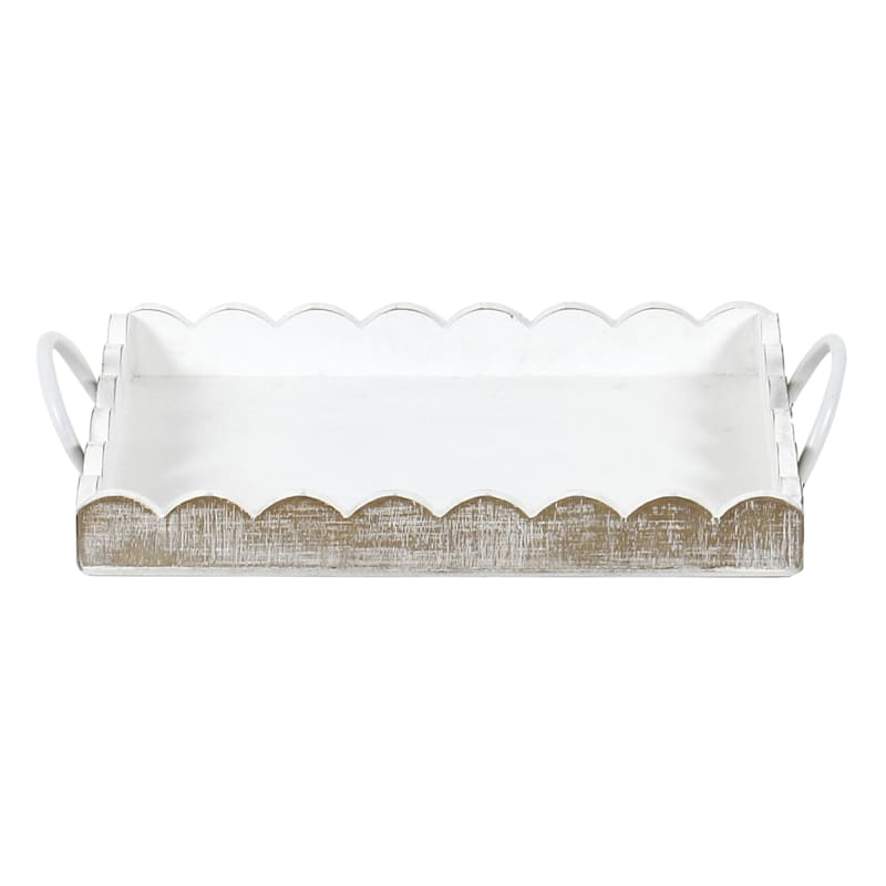 Wood Small Rectangle White Tray With Metal Handle
