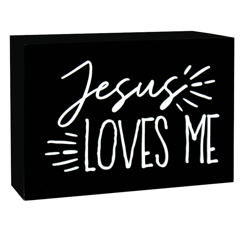 7X5 Jesus Loves Me Tabletop Wood Block