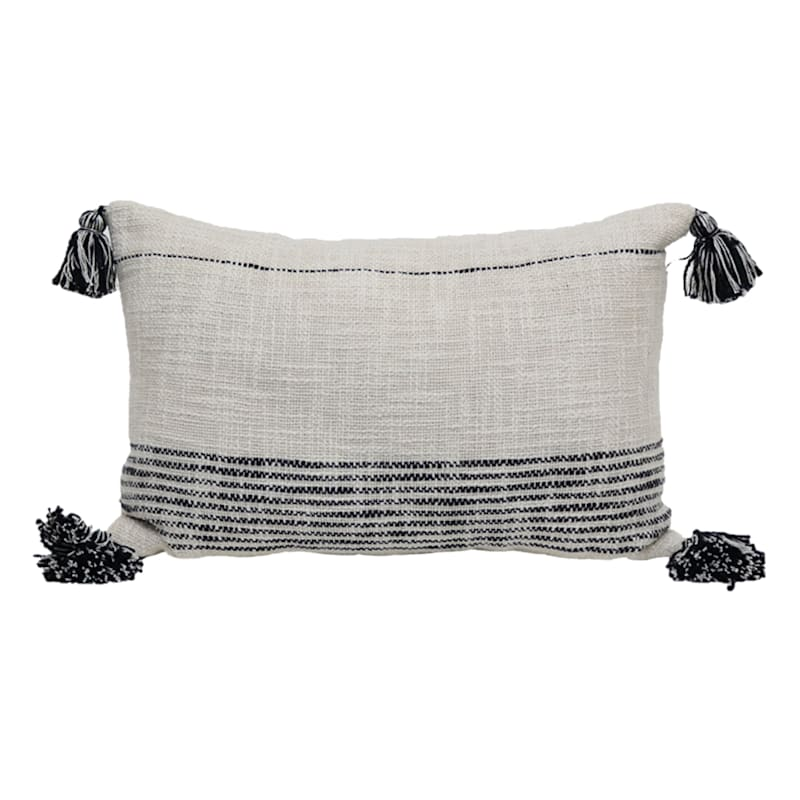 Natural Farmhouse Textured Woven Stripe With Tassel Pillow 20x14