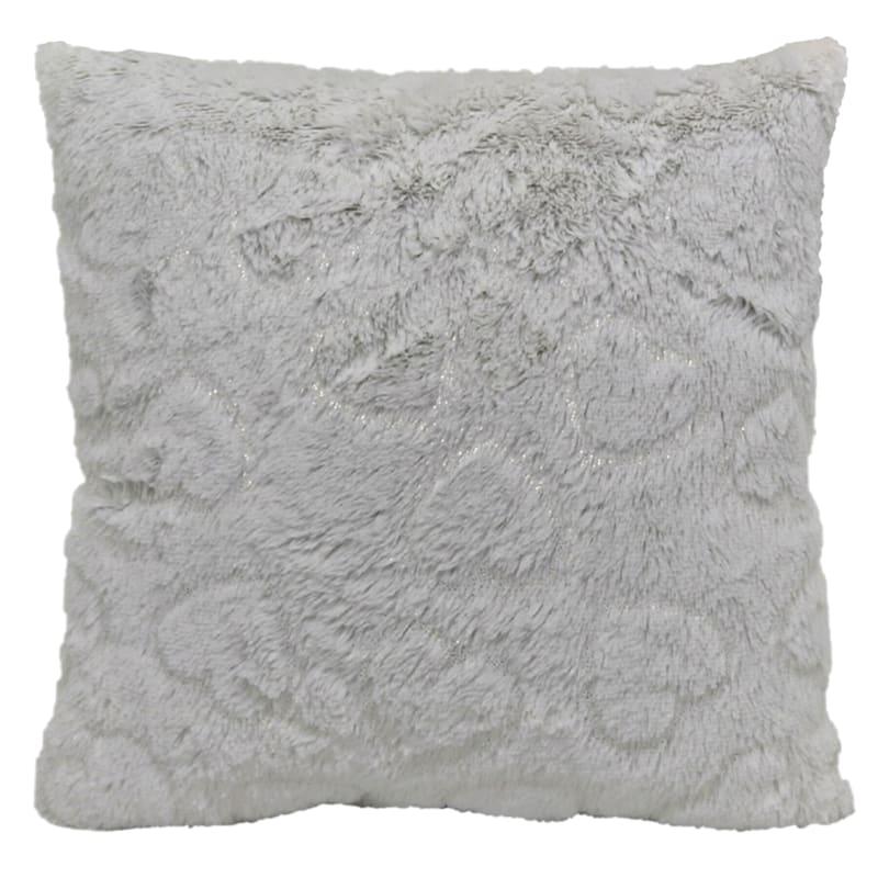 White Plush Printed Metallic Hearts Pillow 18X18