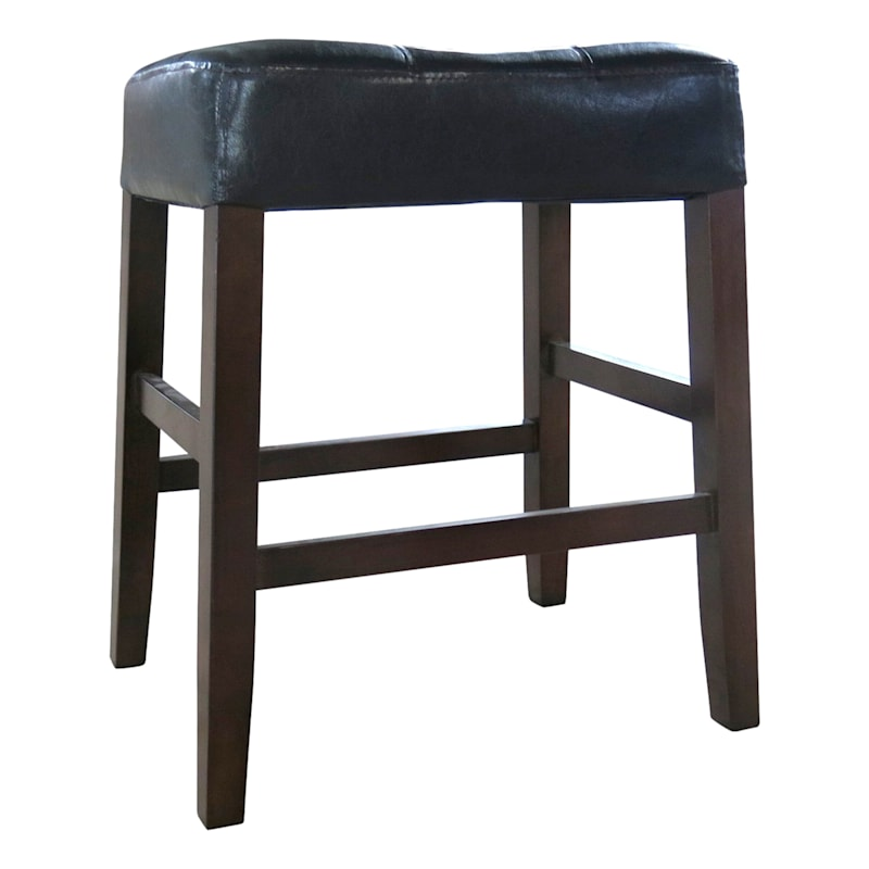 Madison Brown Backless Counter Stool with Faux Leather Upholstered Seat