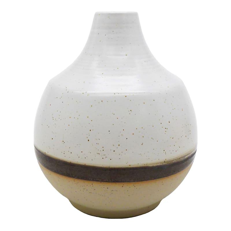 4in. Ceramic Brown Stripe Vase