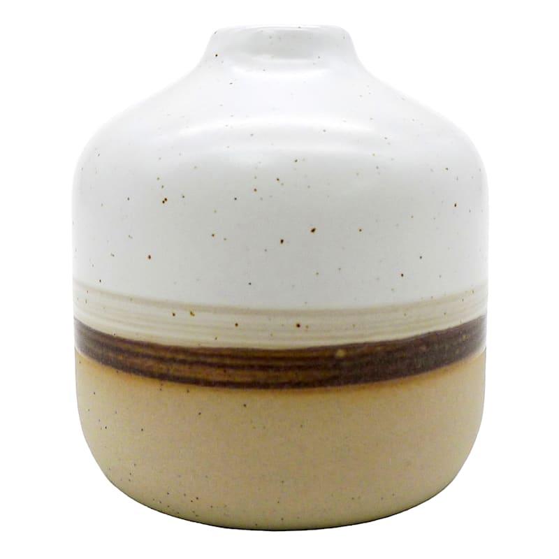 3in. Ceramic Brown Stripe Vase