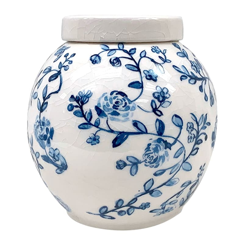 Tracey Boyd 6in. Ceramic White/Blue Floral Jar