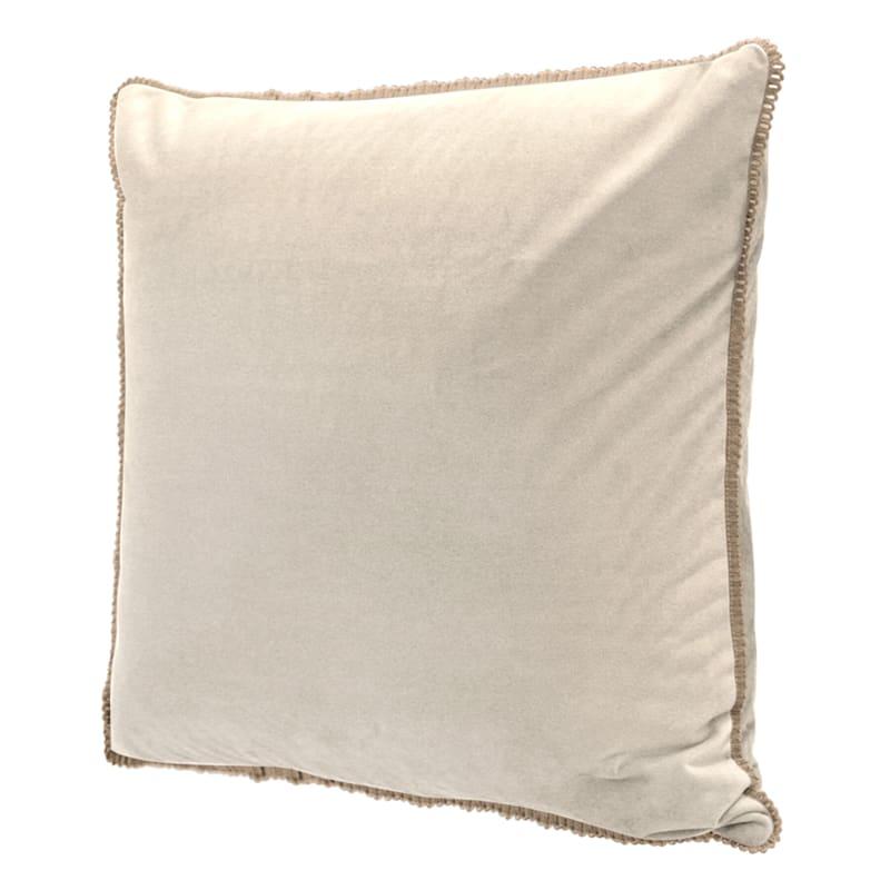 Celeste Sand Velvet With Jute Trim Pillow 20X20