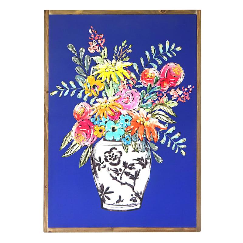 "Grace Mitchell White Vase on Blue Framed Wooden Wall Art, 23"" x 32"""