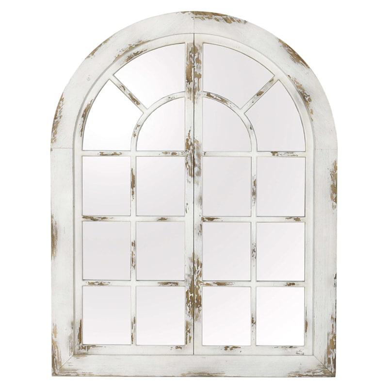 36X47 Wood White Window Mirror