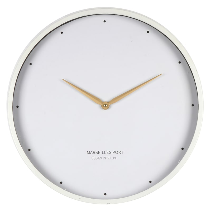20X20 Metal Wood Round White Clock