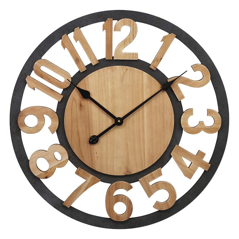 24X24 Metal Wood Round Cutout Clock