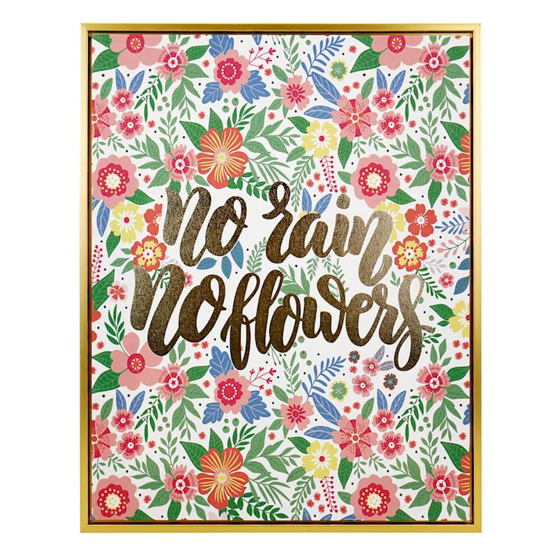 "Grace Mitchell Wood Canvas Framed Print Foil No Rain No Flower Wall Art, 16"" x 20"""