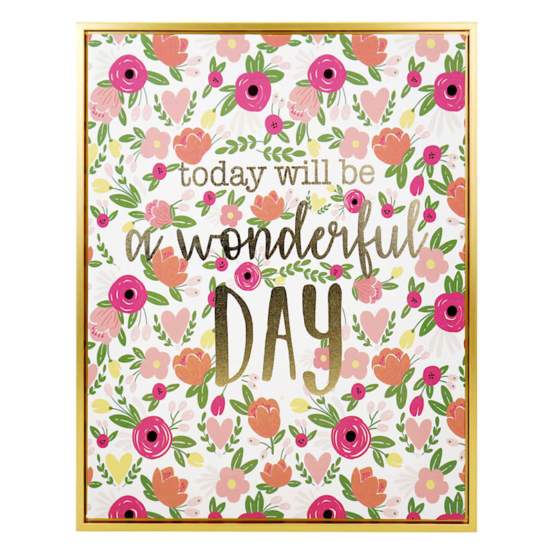 """Grace Mitchell Wood Canvas Framed Print Foil Today Will Be a Wonderful Day Wall Art, 16"""" x 20"""""""