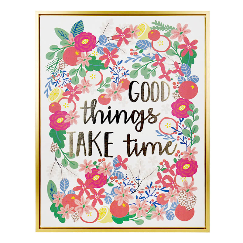 "Grace Mitchell Wood Canvas Framed Print Foil Good Things Take Time Wall Art, 16"" x 20"""