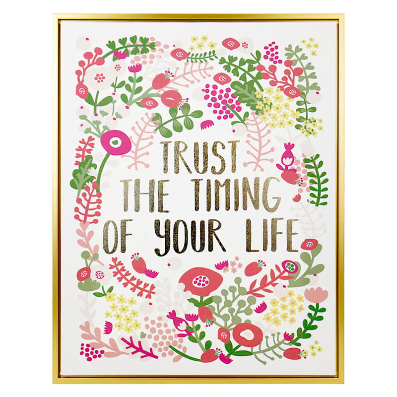 """Grace Mitchell Wood Canvas Framed Print Foil Trust the Timing of Your Life Wall Art, 16"""" x 20"""""""