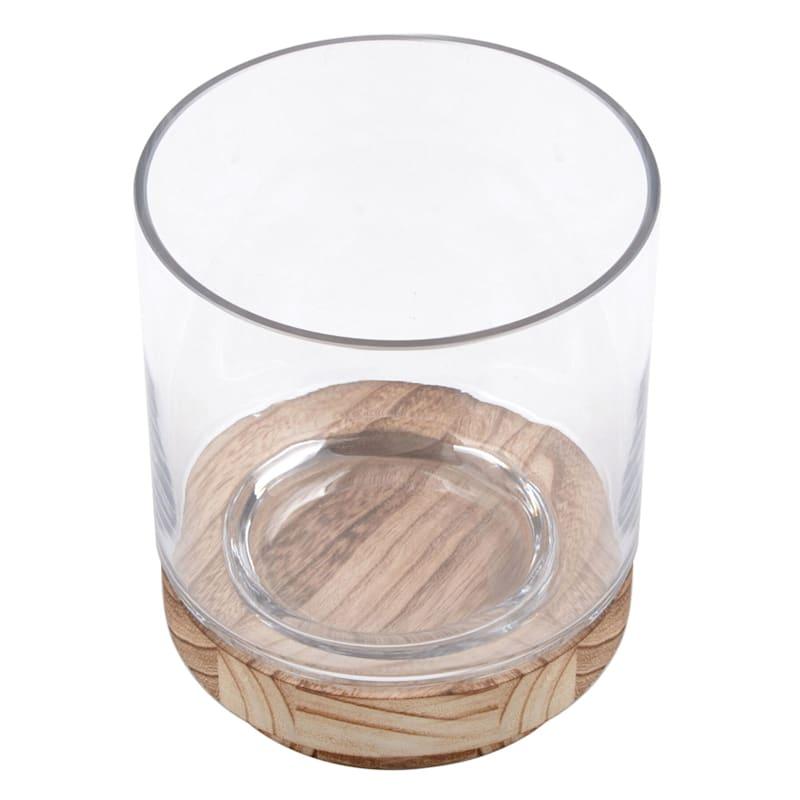 6X7 Clear Glass Wood Hurricane