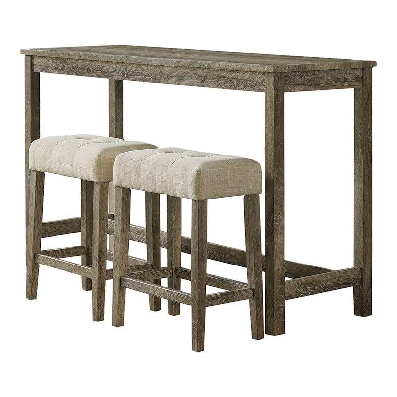 """Oak Lawn Light Grey 3-Piece Pub Set with Ivory Upholstered Counter Stools, 42"""""""