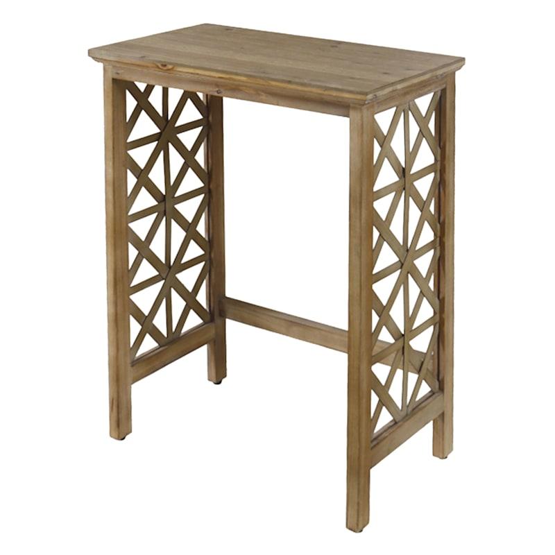 Wood Lattice Detail Console Table, Large