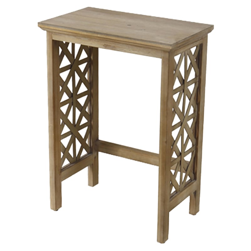 Wood Lattice Detail Console Table, Small