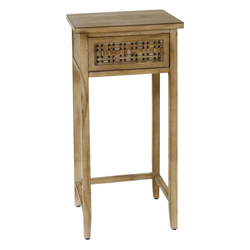 Woven Look 1 Drawer Plant Stand, Large