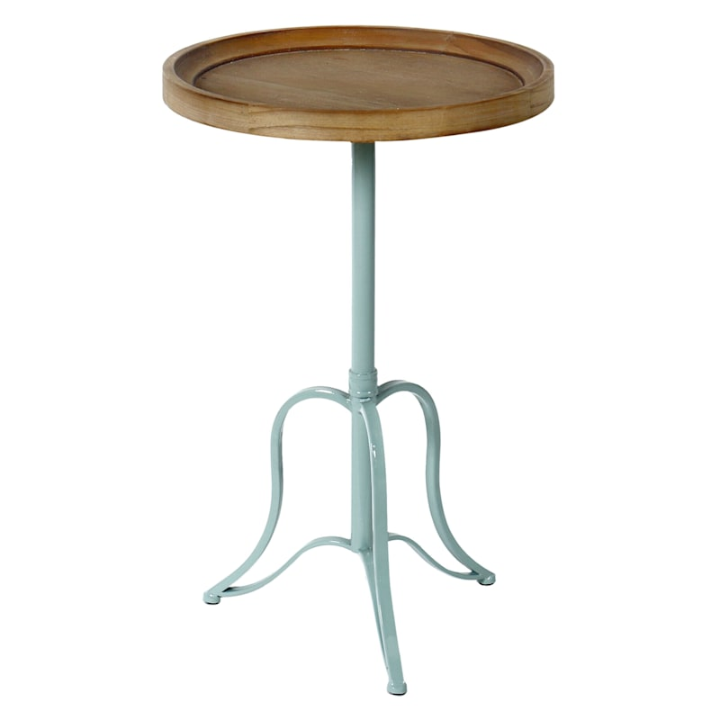 Round Wood Top Accent Table With Green Metal Base