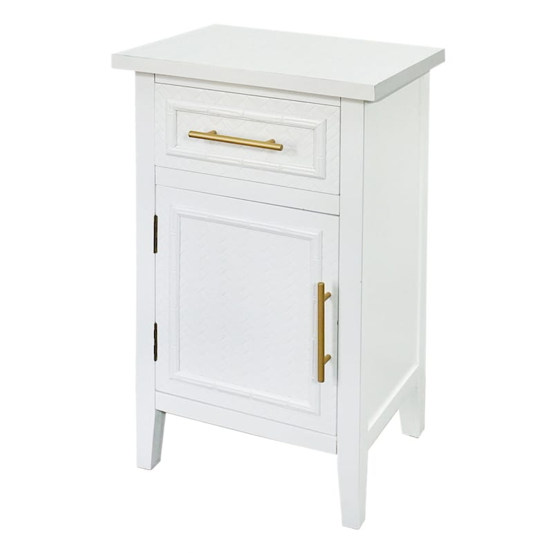 Grace Mitchell White 1 Drawer 1 Door Bamboo Panel Cabinet