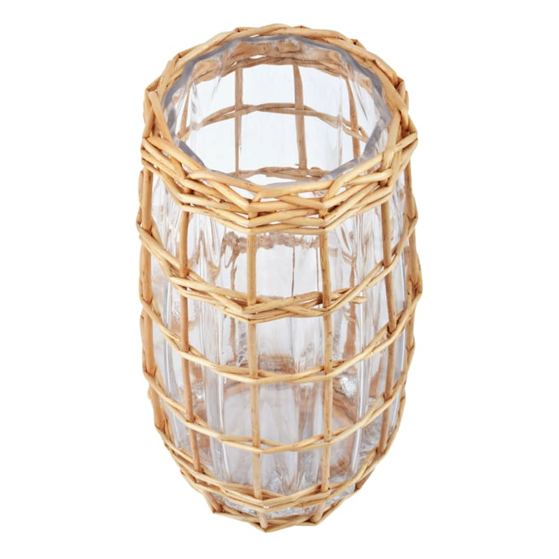 10in. Wicker Wrap Glass Vase