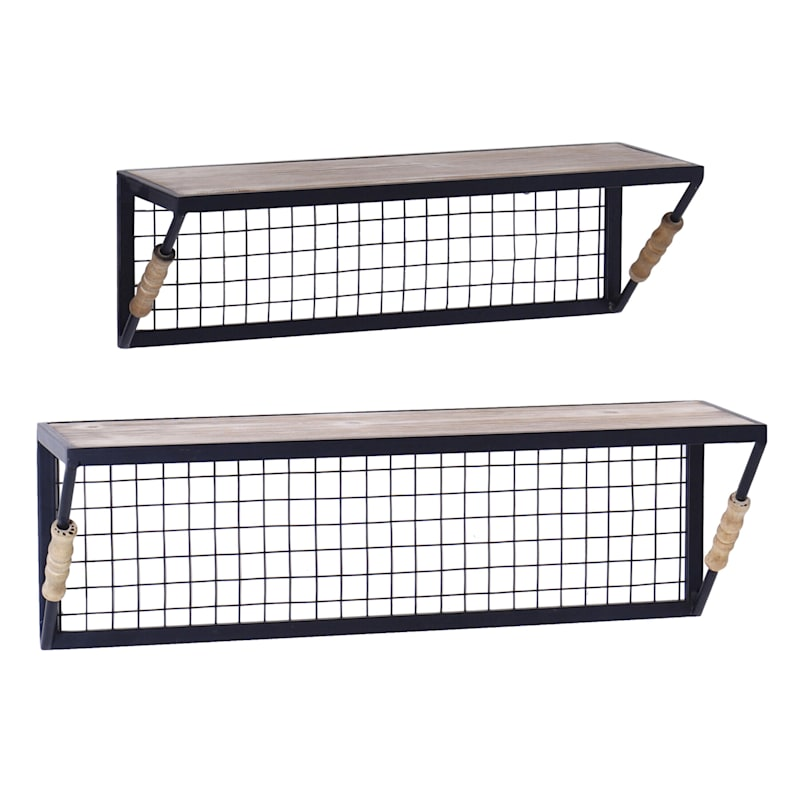 20X7 And 17X6 Wood 2-Piece Wall Shelves