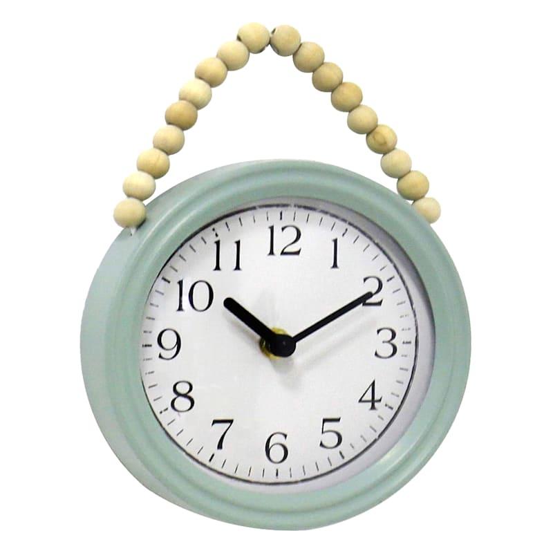 7X9 Metal Teal Beaded Wall Clock